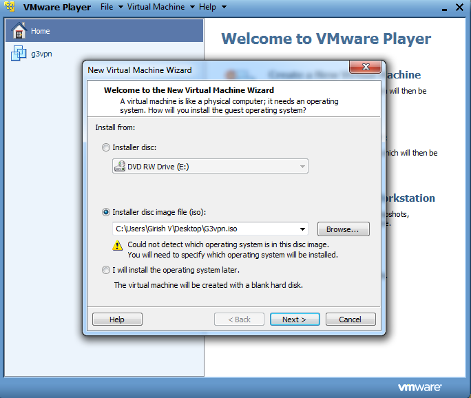 VMWare Player LiveUSB